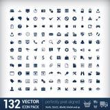 Nowożytnego interfejsu użytkownika płaskie mono ikony, piksle Obrazy Royalty Free