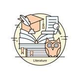 Nowożytnego koloru pojęcia cienka kreskowa literatura i edukacja ilustracja wektor