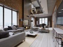 Nowożytnego loft żywy pokój z wysokim sufitem, kanapą, czerwoną ścianą z cegieł, kanapą i meble, białą parkietowej, tapicerowania ilustracji