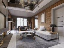 Nowożytnego loft żywy pokój z wysokim sufitem, kanapą, czerwoną ścianą z cegieł, kanapą i meble, białą parkietowej, tapicerowania royalty ilustracja