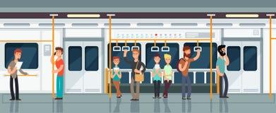 Nowożytnego metra pasażerski kareciany wnętrze z ludźmi wektor ilustraci royalty ilustracja