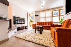 Nowożytnego mieszkania własnościowego mieszkania żywy pokój z kanapą i karłem Zdjęcia Royalty Free