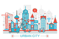 Nowożytnego mieszkanie cienkiego Kreskowego projekta miasta Miastowy pojęcie dla sieć sztandaru strony internetowej Zdjęcie Stock