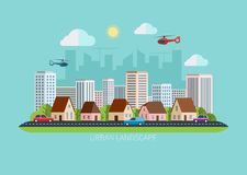 Nowożytnego płaskiego projekta miastowa krajobrazowa ilustracja Zdjęcie Stock