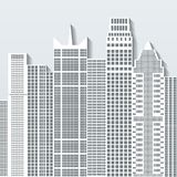 Nowożytnego pejzażu miejskiego wektorowa ilustracja z budynkami biurowymi i drapaczami chmur Część b Fotografia Royalty Free