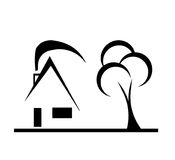 Nowożytnego projekta domu nakreślenia wektor z drzewem Zdjęcia Stock