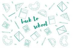 Nowożytnego projekta szablon z szkolnymi akcesoriami «Z powrotem szkoła «i literowanie royalty ilustracja