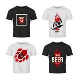 Nowożytnego rzemiosło piwnego napoju loga wektorowy znak dla baru, pubu, browaru lub brewhouse odizolowywających na koszulka egza Zdjęcie Royalty Free