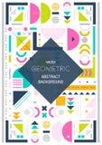 Nowożytnego tła kreskowa sztuka Abstrakcjonistyczny geometryczny kolorowy tło Okładkowy projekt A4 rozmiar ilustracja wektor