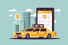 Nowożytnego taxi wywoławczy używa smartphone i online zastosowanie ilustracja wektor