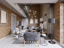 Nowożytnego współczesnego loft projekta mieszkania żywy izbowy wnętrze ilustracji