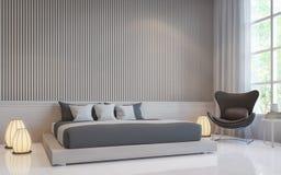 Nowożytnej białej sypialni 3d renderingu wewnętrzny wizerunek Zdjęcie Stock