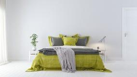 Nowożytnej białej sypialni wewnętrzny projekt z zielonymi łóżkowymi prześcieradłami 3d Odpłaca się ilustracji