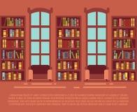 Nowożytnej biblioteki pusty wnętrze z bookcase, bibliotheca z bookselves wektoru ilustracją ilustracji