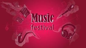 Nowożytnej muzyki tło, screensaver dla wakacje, festiwal ilustracji