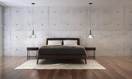 Nowożytnej sypialni wewnętrznego projekta i betonowej ściany tło Fotografia Royalty Free