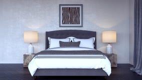 Nowożytnej sypialni wewnętrzny projekt 3d Odpłaca się Zdjęcie Stock