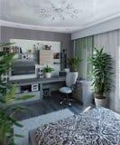 Nowożytnej sypialni wewnętrzny projekt, 3d odpłaca się Obraz Royalty Free
