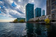 Nowożytni budynki wzdłuż Jeziornego Ontario przy Harbourfront w Toro, Obraz Stock