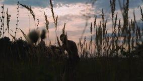 Nowożytni cossack treningi z kordzikami przy dzikimi polami 4K zdjęcie wideo
