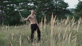 Nowożytni cossack treningi z kordzikami w polach 4K zdjęcie wideo