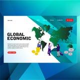 Nowożytni futurystyczni szablonu pojęcia ludzie, wielka mapa z kuli ziemskiej ekonomicznego biznesowego słowa wektorowym ilustrac ilustracji