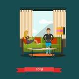 Nowożytni gadżety dla życia codziennego pojęcia wektorowej ilustraci, mieszkanie styl royalty ilustracja