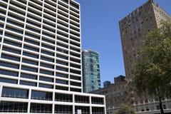 Nowożytni i historyczni budynki w mieście Fort Worth zdjęcia royalty free