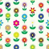 Nowożytni kolorowi prości retro mali kwiaty ustawiają ikona bezszwowy wzór eps10 Zdjęcia Royalty Free