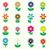 Nowożytni kolorowi prości retro mali kwiaty ustawiają ikony eps10 Zdjęcie Royalty Free