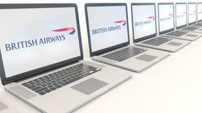 Nowożytni laptopy z British Airways logem Informatyka artykułu wstępnego 3D konceptualny rendering ilustracja wektor
