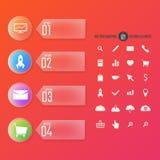 Nowożytni liczący sztandary z ikonami ustawiają, kolor Fotografia Stock