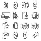 Nowożytni mądrze zegarki i apps Klapania smartwatch na ręka nadgarstku Ilustracji