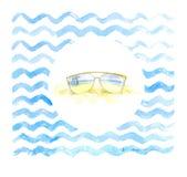 Nowożytni okulary przeciwsłoneczni z palmy odbiciem na dennym tle ilustracji