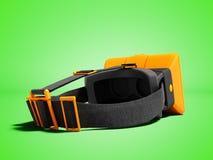 Nowożytni pomarańczowi rzeczywistość wirtualna szkła na patkach dla załatwiać dalej go ilustracja wektor