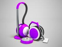 Nowożytni próżniowi czyściciele z wężami elastycznymi i próżniowego cleaner robota purpl ilustracji