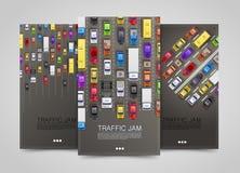 Nowożytni przewiezeni pionowo sztandary Drogowy ulotka set Ruchu drogowego dżemu infographics ilustracji