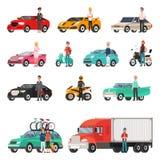 Nowożytni samochody i ciężarówka z kierowcami Obok setu royalty ilustracja