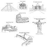 Nowożytni siedem cudów świat Nakreślenie ołówek TARGET688_1_ ręką wektor Zdjęcia Stock