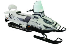 Nowożytni snowmobiles zapewniają wygodnego i bezpiecznego ruchu Obrazy Stock