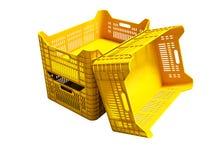 Nowożytni trzy koloru żółtego plastikowi pudełka opróżniają dla magazynu dla towary ilustracja wektor