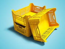 Nowożytni trzy koloru żółtego plastikowi pudełka opróżniają dla magazynu dla towary ilustracji