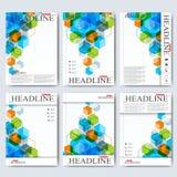 Nowożytni wektorowi szablony dla broszurki, ulotki, okładkowego magazynu lub raportu w A4 rozmiarze, Biznes, nauka, medycyna i Zdjęcia Royalty Free