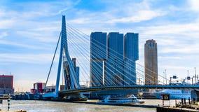 Nowożytni Wysocy wzrostów budynki z zostającym Erasmus mostem nad Nieuwe Maas rzeką w Rotterdam obrazy stock