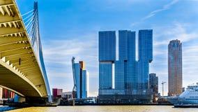 Nowożytni Wysocy wzrostów budynki z zostającym Erasmus mostem nad Nieuwe Maas rzeką w Rotterdam obraz royalty free