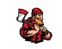 Nowożytni zajęcie kreskówki loga ludzie - Lumberjack ilustracji