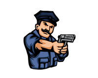 Nowożytni zajęcie kreskówki loga ludzie - policja ilustracja wektor