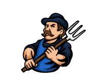 Nowożytni zajęcie kreskówki loga ludzie - rolnik ilustracja wektor