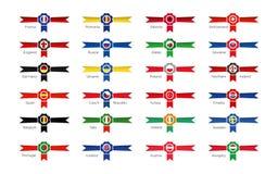 Nowożytni zwycięzców symbole - emblematy i ikony uczestniczy kraje piłka nożna turniej 2016 w France royalty ilustracja