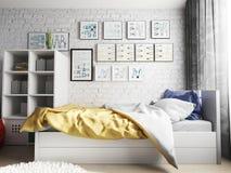 Nowożytny łóżko na ściany z cegieł tle, 3d rendering zdjęcia stock